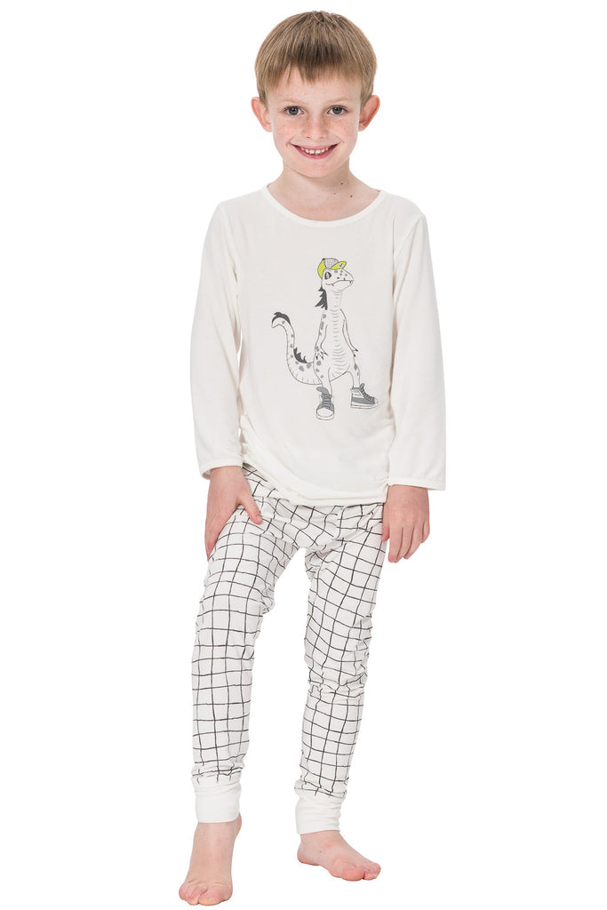 Lizard print designer pyjamas for boys in bamboo by Snugalicious