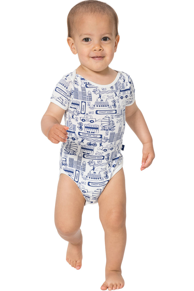 Short Sleeve onesie - Busy Hong Kong paper bag - SNUGALICIOUS BAMBOO