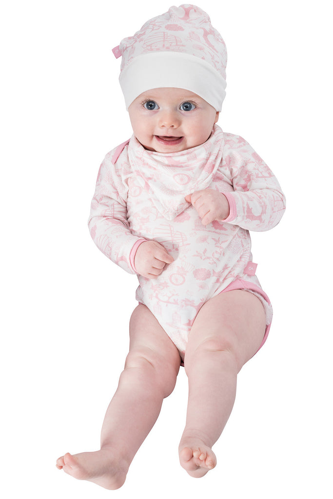 Bamboo long sleeve onesie - Oriental girl paper bag - SNUGALICIOUS BAMBOO