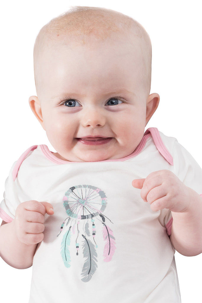 Bamboo onesie - short sleeve -  Dreamcatcher for Tessa - SNUGALICIOUS BAMBOO