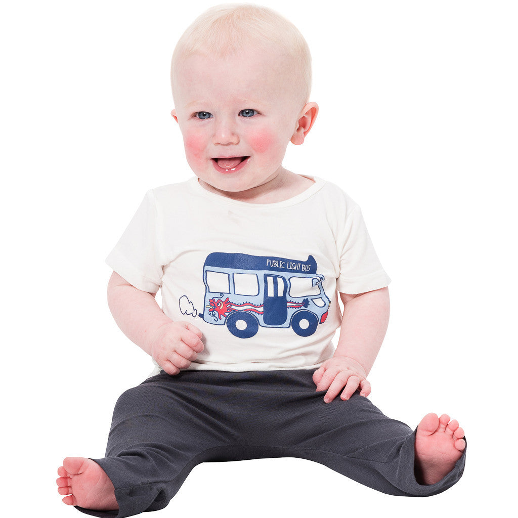 Bamboo short sleeve Tee Boy - Mini bus print - SNUGALICIOUS BAMBOO