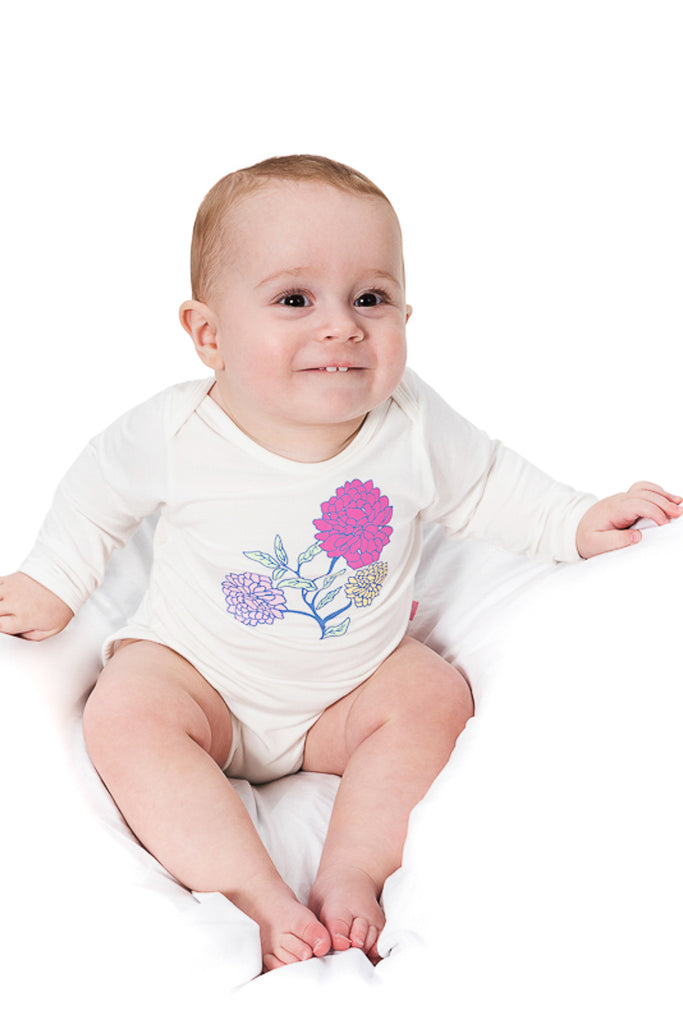 Bamboo onesie - long sleeve - Annie's flowers - SNUGALICIOUS BAMBOO