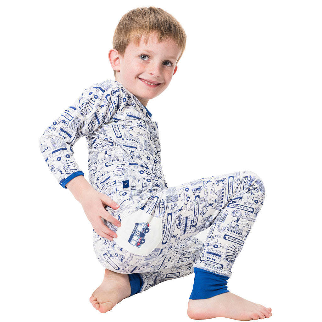 Long John Pyjamas - Busy Hong Kong - SNUGALICIOUS BAMBOO