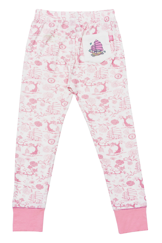 Snug-a-licious bamboo long johns for girls in oriental print