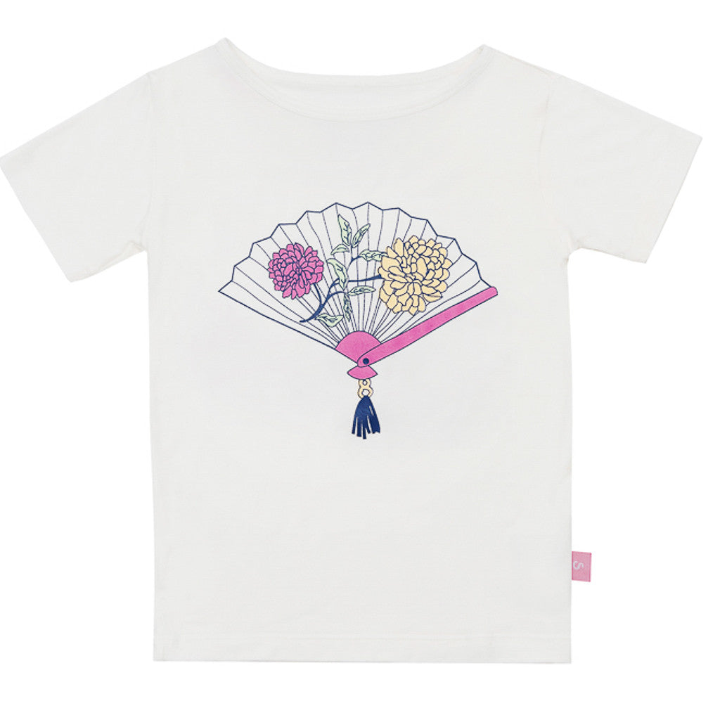 Bamboo short sleeve Tee Girl - Mrs Wong's fan paper bag - SNUGALICIOUS BAMBOO