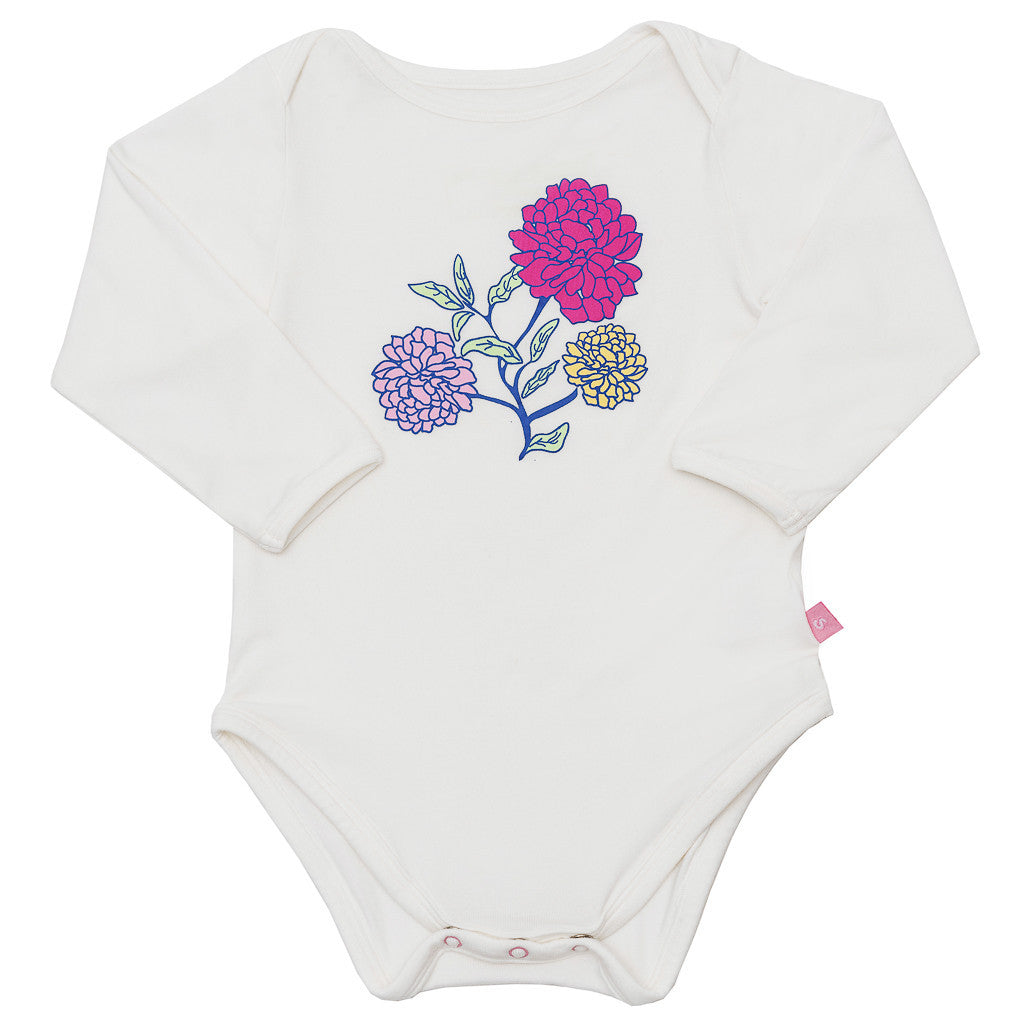 Bamboo onesie - long sleeve - Annie's flowers paper bag - SNUGALICIOUS BAMBOO