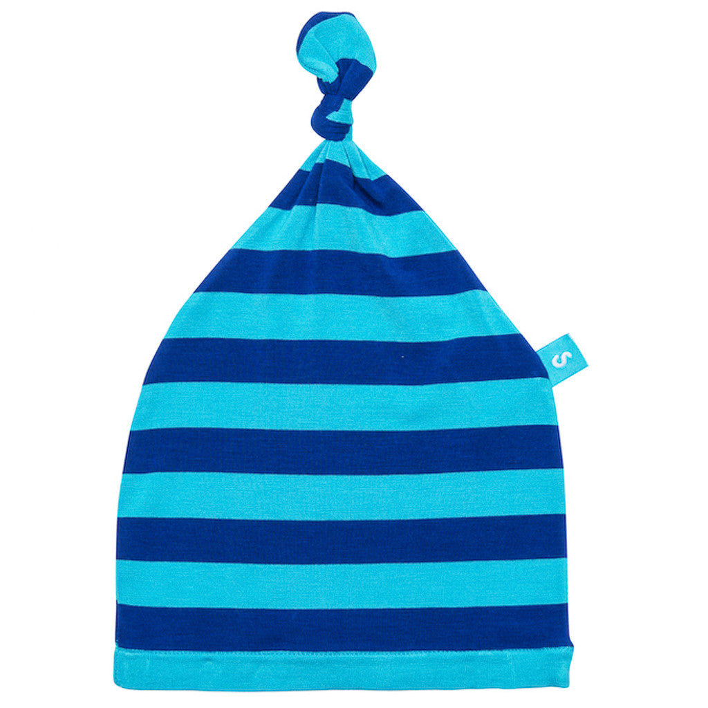 Bamboo baby hat - knot top style - Blue stripe - SNUGALICIOUS BAMBOO