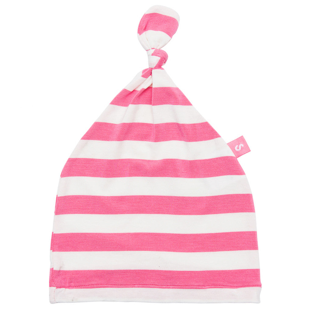 Bamboo beanie - Newborn baby hat for girls. Super soft and stretchy - Coral stripe