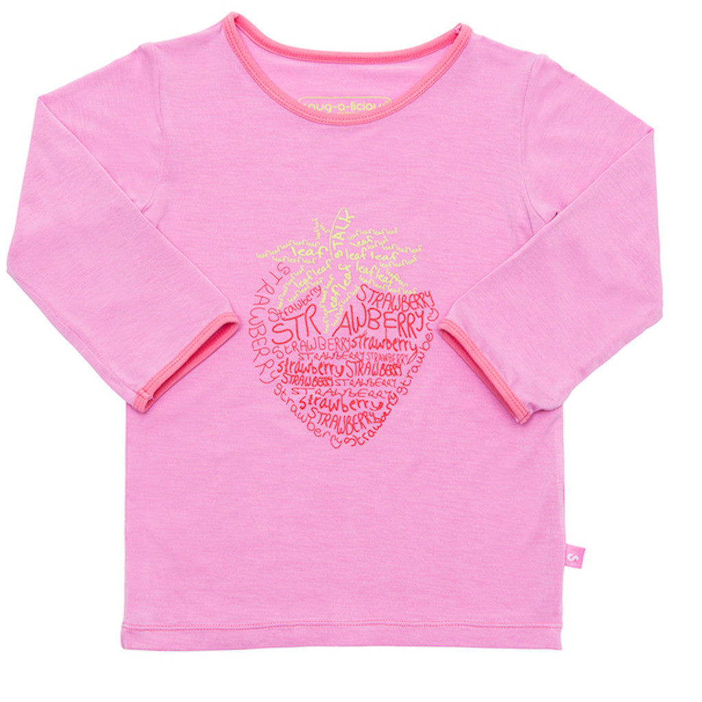 Bamboo long sleeve tee - Xanthe's strawberry - SNUGALICIOUS BAMBOO