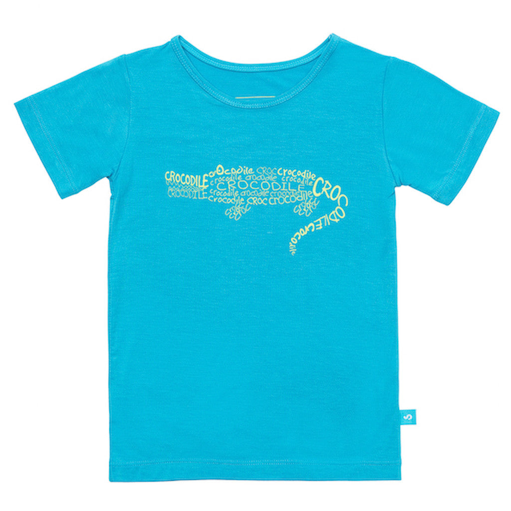 Bamboo short sleeve tee - Cameron the crocodile - SNUGALICIOUS BAMBOO
