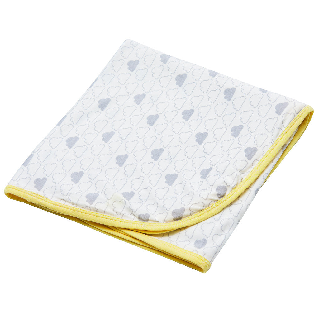 Bamboo baby blanket - Large swaddle( 1m x1m) Cloud print - SNUGALICIOUS BAMBOO