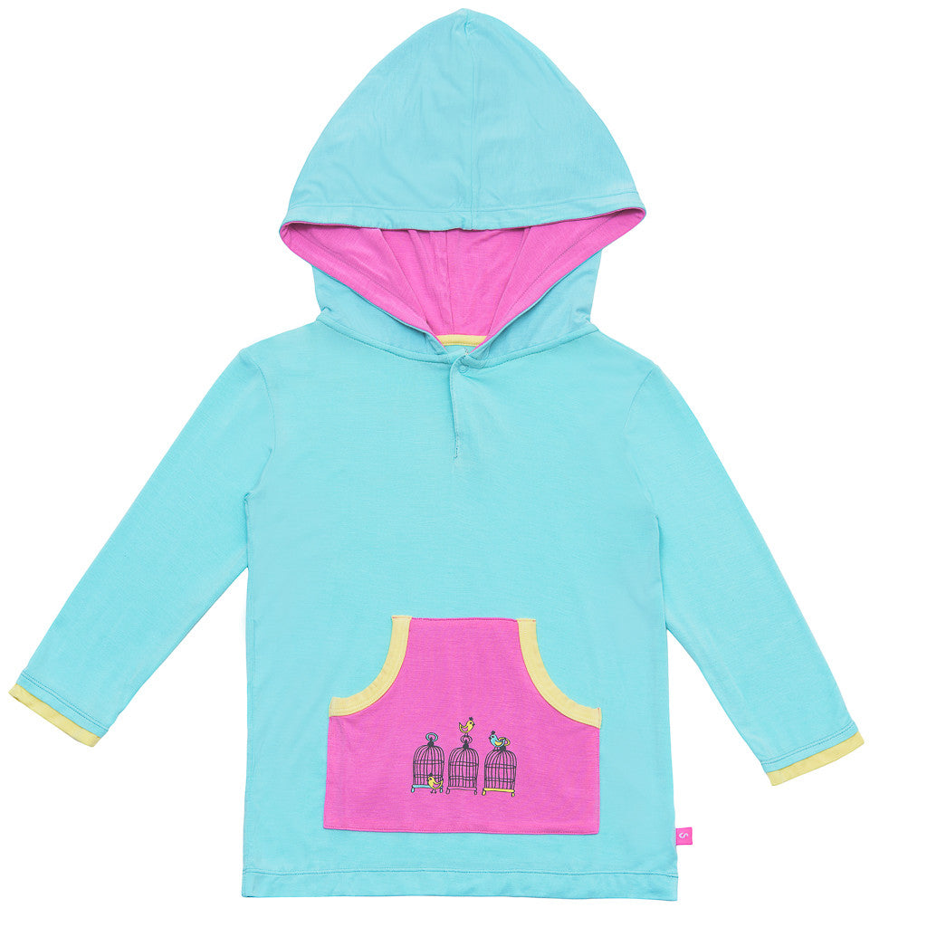 Bamboo girls hoodie - Birdcage design with aqua and pink by Snug-a-licious