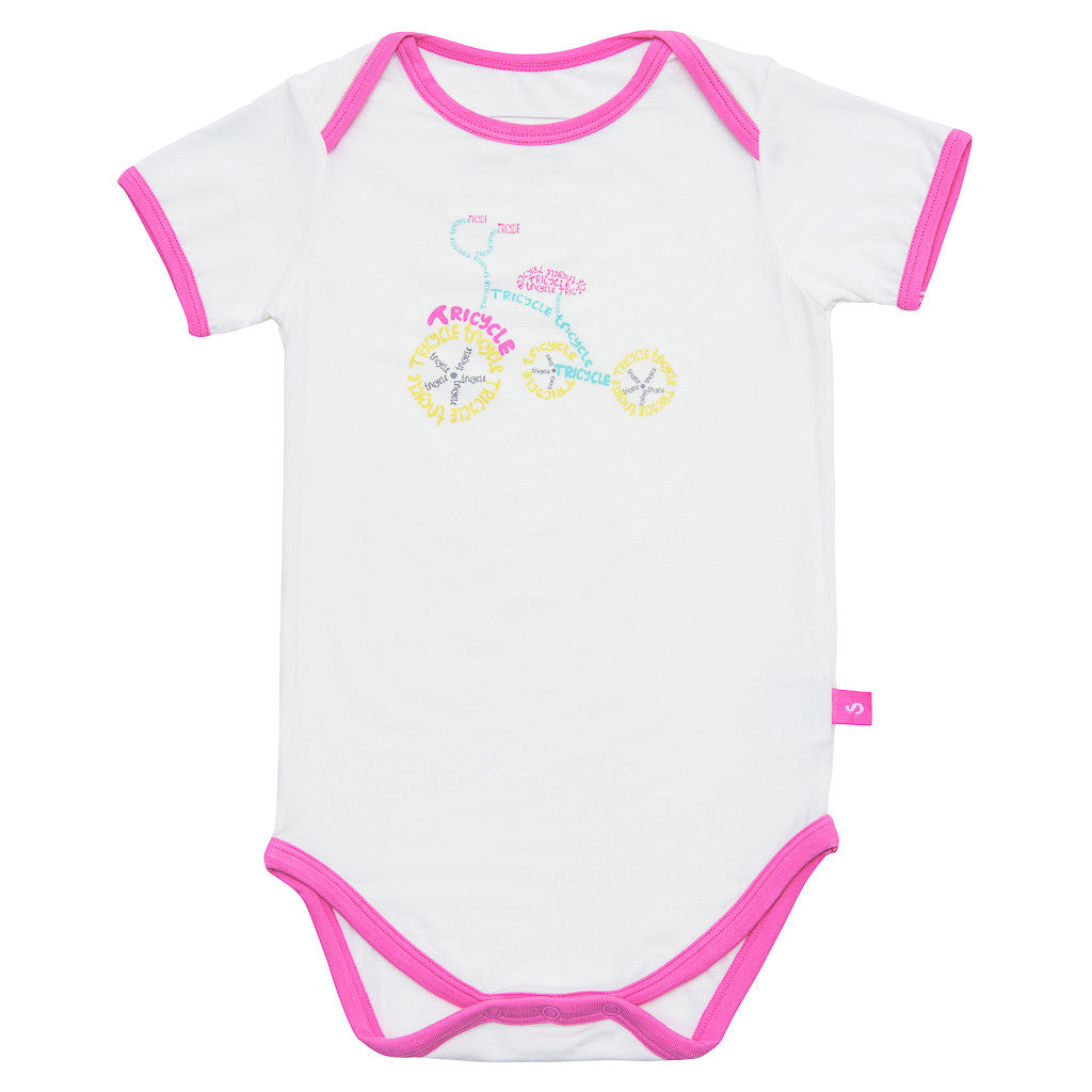 Short sleeve onesie - Matilda's Tricycle - SNUGALICIOUS BAMBOO