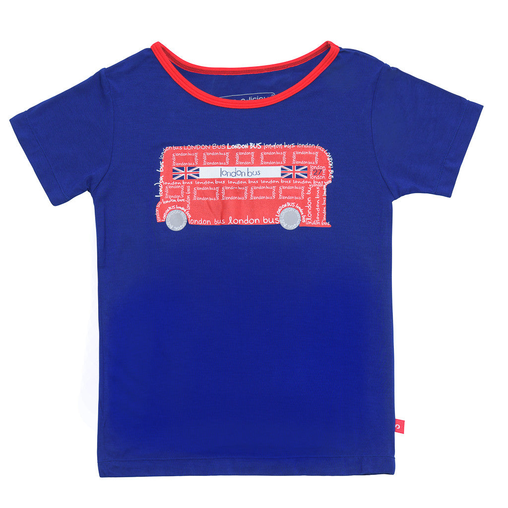 Bamboo short sleeve tee - William the London bus - SNUGALICIOUS BAMBOO