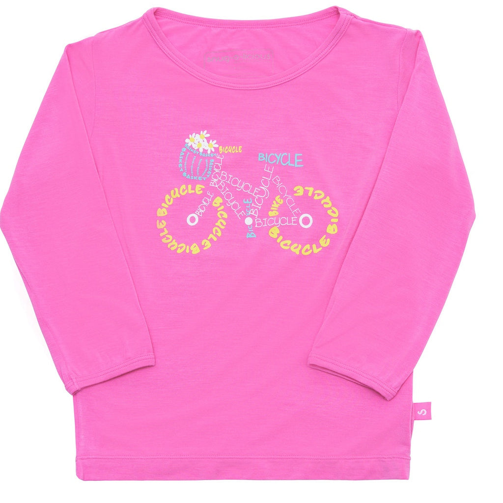 Bamboo long Sleeve Tee- Xanthe's Pink bicycle - SNUGALICIOUS BAMBOO