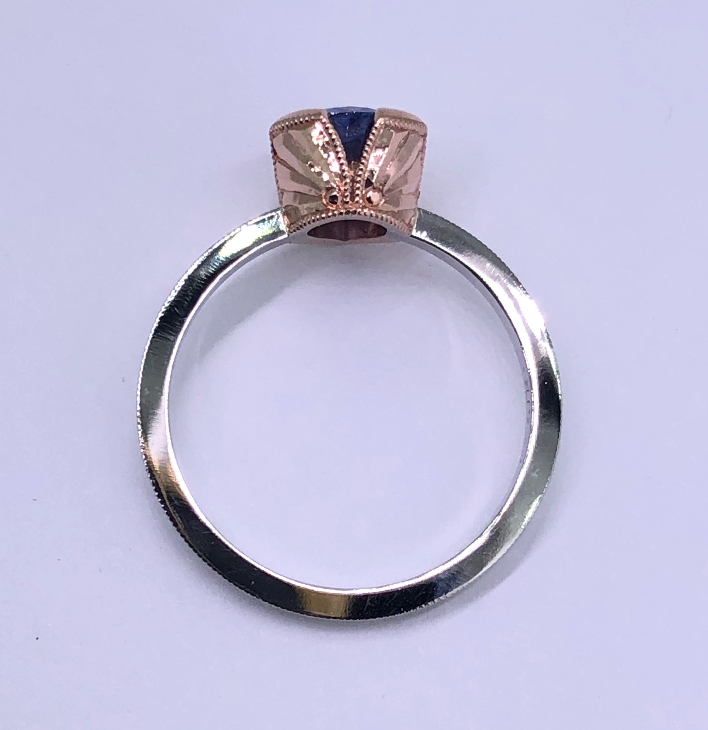 Pear shape Blue Sapphire in 14k rose gold