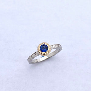 Blue sapphire and 18k two tone ring
