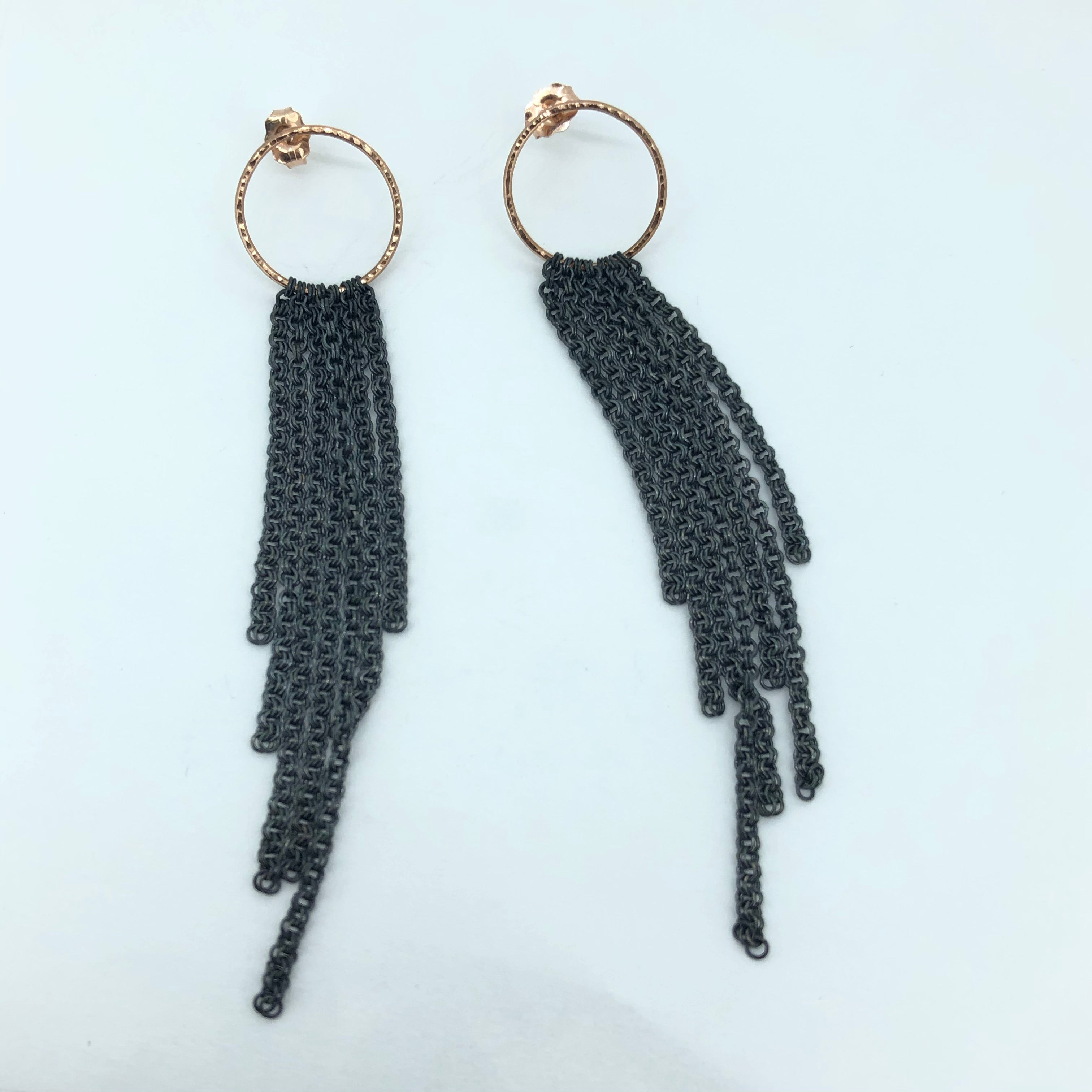 14k Rose Gold and oxidized sterling earrings.