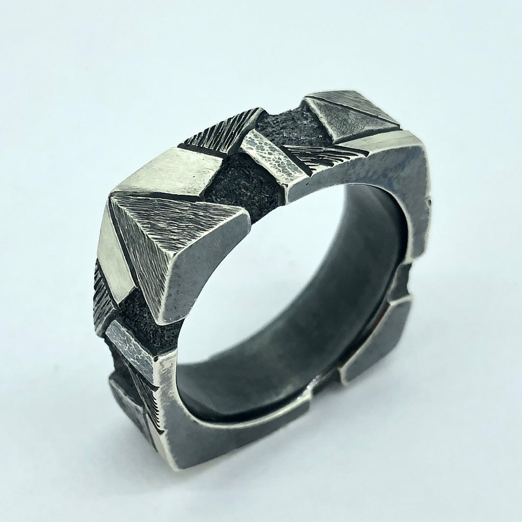 Geometric square hand-engraved men's ring