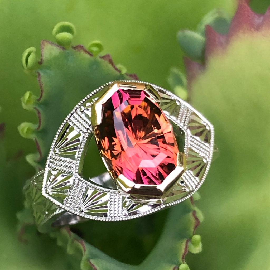 Malawi Tourmaline 18KY and Platinum Ring