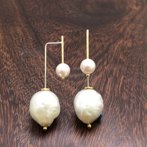 Double Pearl drop earrings in 14ky and 14kw