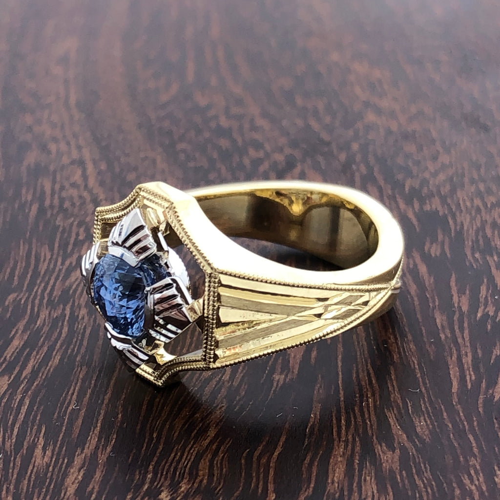 Blue sapphire platinum and 18k ring 1.18 carat