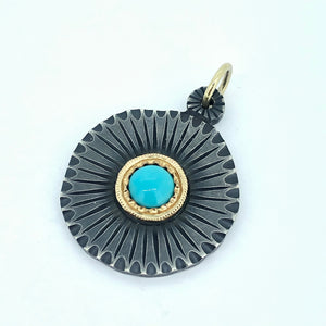 Turquoise in 14k yellow and sterling silver