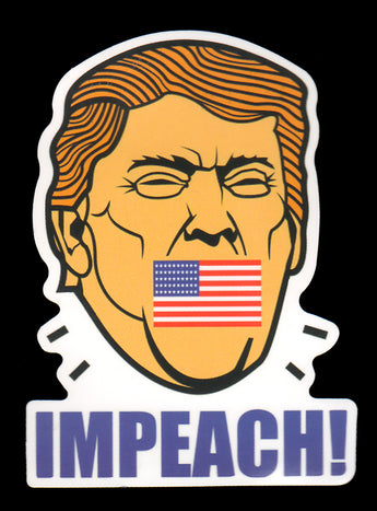 003 Impeach Trump American Flag Covered Mouth Sticker - Anti Trump Stickers