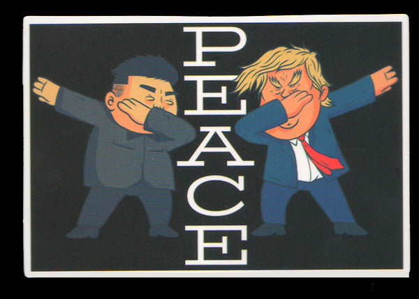 004 Donald Trump & Kim Jong-un Peace Dancing - Anti Trump Stickers