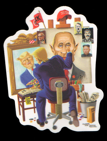 014 Trump Painting Picture of Putin - Anti Trump Stickers