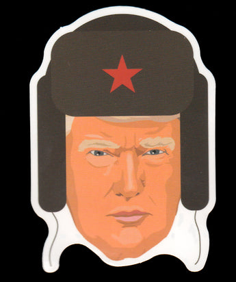 020 Trump In Russian Hat Sticker - Anti Trump Stickers
