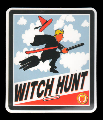 021 Trump Flying On Broomstick Witch Hunt Sticker - Anti Trump Stickers