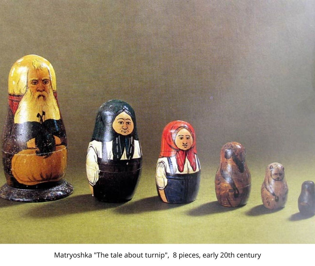 """Matryoshka """"The tale about turnip"""",  8 pieces, early 20th century"""