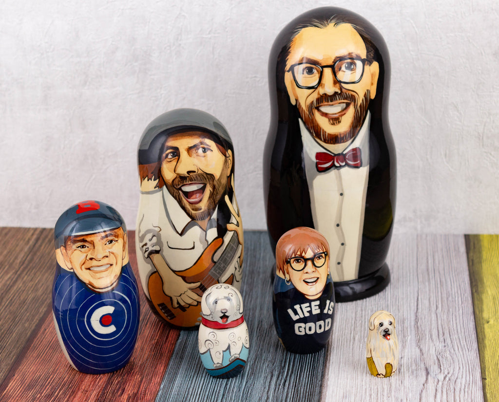Stylized portrait nesting dolls