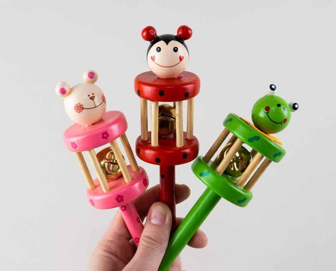 Colorful wooden rattles