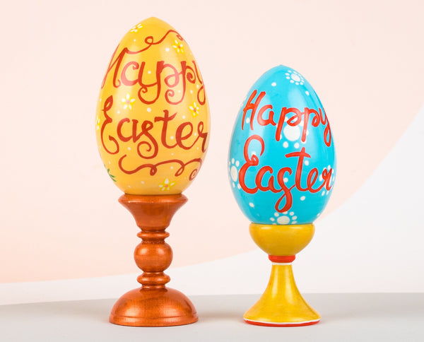 We've painted happy Easter on the other side of the Easter eggs.