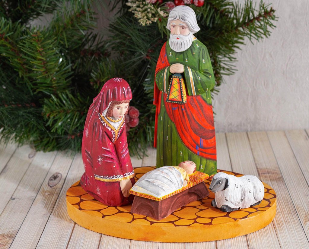 Nativity set scene Baby Jesus and lamb gold and red
