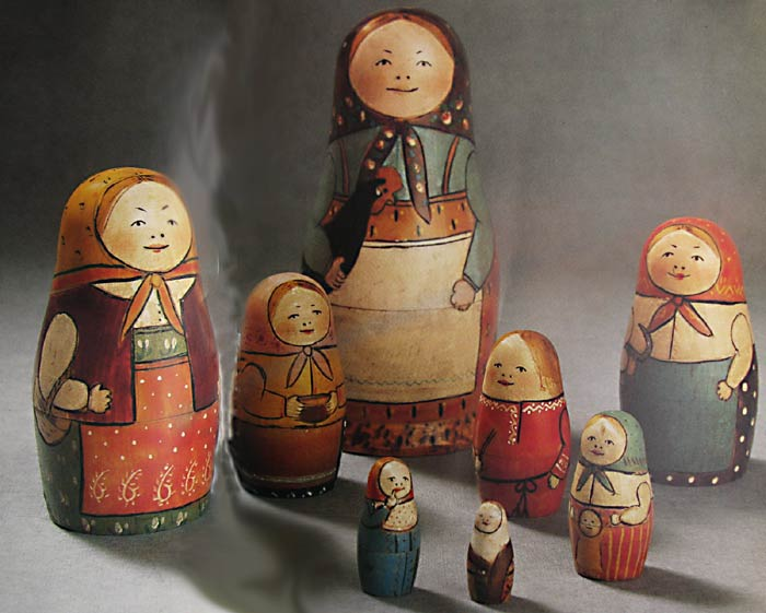 Eight dolls. The first matryoshka doll set—created in 1890 by Sergey Malyutin and Vasily Zvyozdchkin—contained eight individual nesting dolls.  The biggest doll depicted a Russian peasant woman clutching a black rooster in her left arm.
