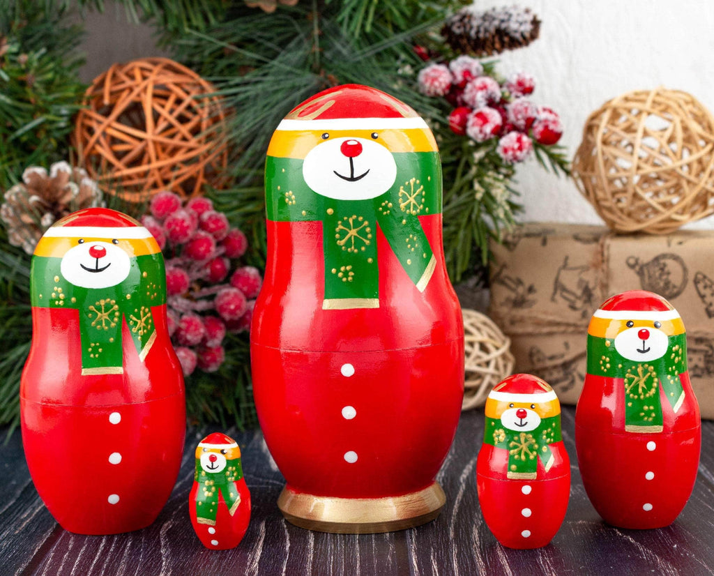 Red and green reindeer Christmas Russian dolls