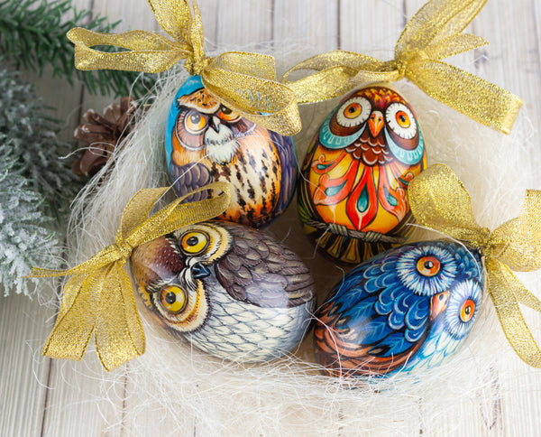 2. Owl Wooden Easter Eggs Pick your favorite colors. We got owls of different colors: blue, orange, and brown. Aren't they beautiful? We must agree that painting these owl wooden Easter eggs is very difficult, but that is why we are professional artists. We'll also let you in on a not-so-secret; the blue one's our favorite! We used Tempera paints and water-based lacquer in making these beauties.  Wooden egg | Owl Easter eggs| Easter egg craft| Firebirdworkshop