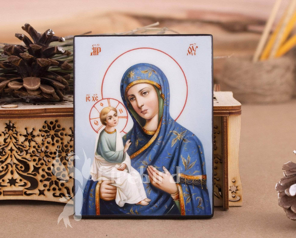 Madonna and child painting blue icon