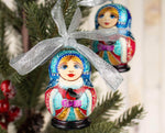 Matryoshka ornaments red & blue Christmas decor