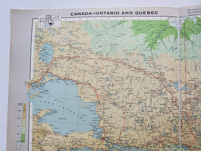 Vintage Map of Ontario and Quebec 1963 - Handmade in Harrisburg