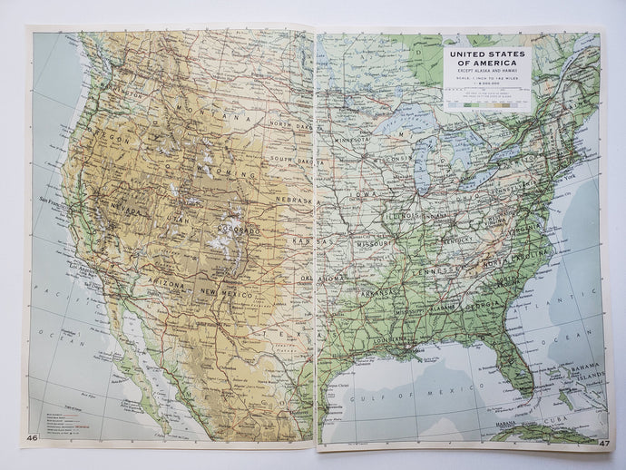 Vintage Map of the United States 1963 - Handmade in Harrisburg