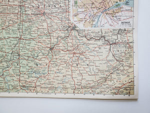Vintage Map of the Detroit and Chicago 1963 - Handmade in Harrisburg