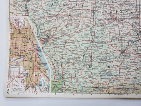 Image of Vintage Map of the Detroit and Chicago 1963 - Handmade in Harrisburg