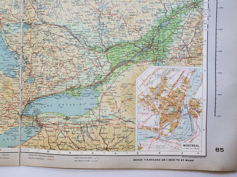 Image of Vintage Map of Ontario and Quebec 1963 - Handmade in Harrisburg