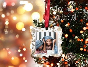 Photo Christmas Ornament, Personalized Photo Christmas Ornament, Custom Ornament, Design your Own Ornament, Photo Ornament, Merry White Gold - Handmade in Harrisburg