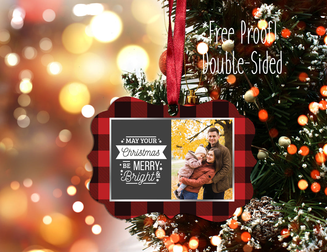 Plaid Photo Christmas Ornament, Personalized Plaid Photo Ornament, Design your Own Ornament, Personalized Photo Ornaments, Plaid Ornament - Handmade in Harrisburg