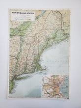 Load image into Gallery viewer, Vintage Map of New England and Boston 1963 - Handmade in Harrisburg